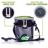 Dog Treat Training Pouch with Poop Bag Dispenser, Gray, Brandlet, Treat Bag, Brandlet