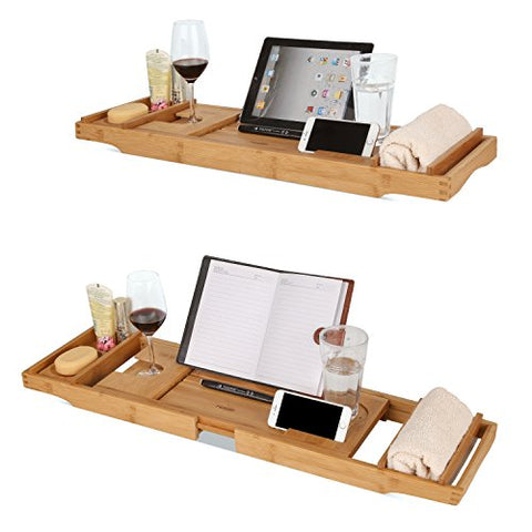 Bamboo Bathtub Caddy Tray Expandable with Extending Sides, Cellphone ...