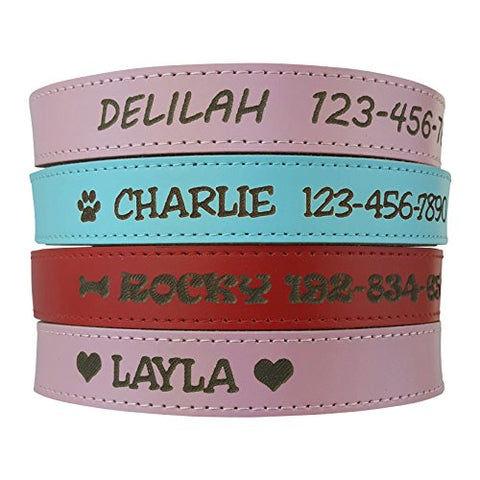 Personalized Dog Collar Engraved on Soft Leather, Pink, Red, Blue, Yellow, Orange, Green