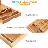 Bamboo Bathtub Tray Organizer Extends to 41in with Non Slip Sides, Fits Any Tub, Brandlet, , Brandlet