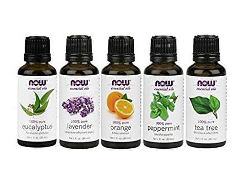 Pure Essential Oils: Tea Tree, Orange, Eucalyptus, Lavender, Peppermint Oils - 5-Pack- 1oz each