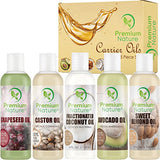 Premium Moisturizing Oil Collection - Coconut Oil, Castor Oil, Grapeseed Oil, Avocado Oil, & Sweet Almond Oil 4oz Each 5-Pack Gift Set, Brandlet, Moisturizing Oils, Brandlet