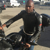 Men's Black Leather Silhouette Motorcycle Jacket