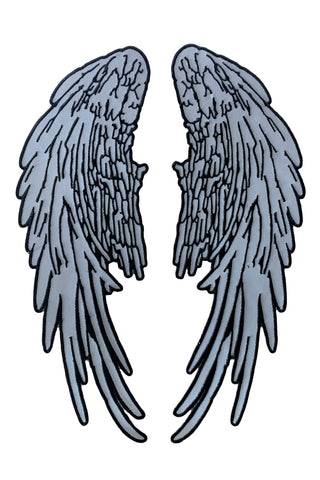 "Angel Wings Reflective Iron On/Sew On Embroidered Patch (14"" x 5.5"")"