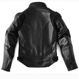 Women's Custom Black Leather with Quilted Sleeve