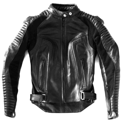 Women's Black Leather with Quilted Sleeve
