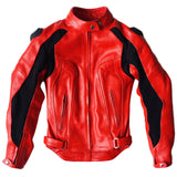 Women's Cherry Red Silhouette Leather Moto Jacket