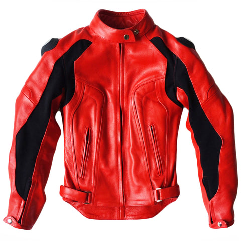 Women's Custom Cherry Red Leather Motorcycle Jacket