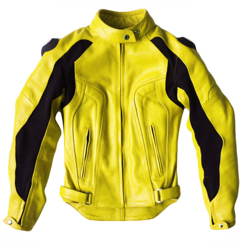 Women's Yellow Silhouette Leather Moto Jacket