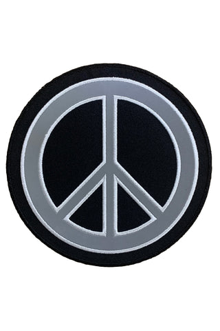 Peace Sign Reflective Iron On/Sew On Embroidered Patch (6 inch)