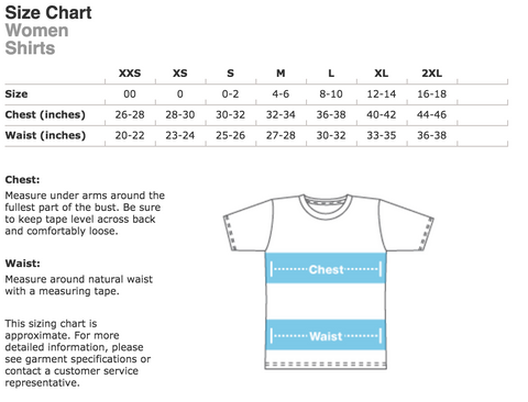 Ladies Shirt Sizing