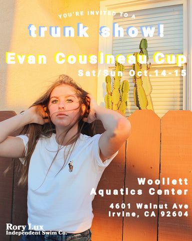 You're invited! Rory Lux trunk show this weekend October 14-15 during the Evan Cousineau Cup at William Woollett Jr. Aquatics Center in Irvine.