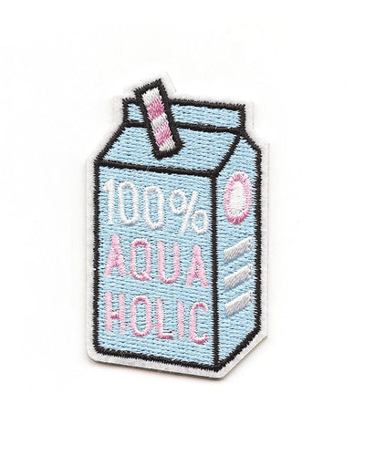 Juice carton with straw and 100% aquaholic