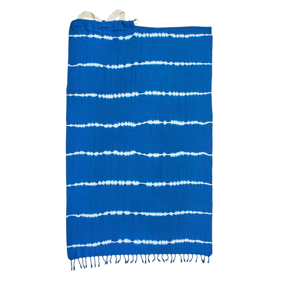 Shibori Hand Dyed Turkish Towel Bag - Natural Indigo - Rory Lux Apparel