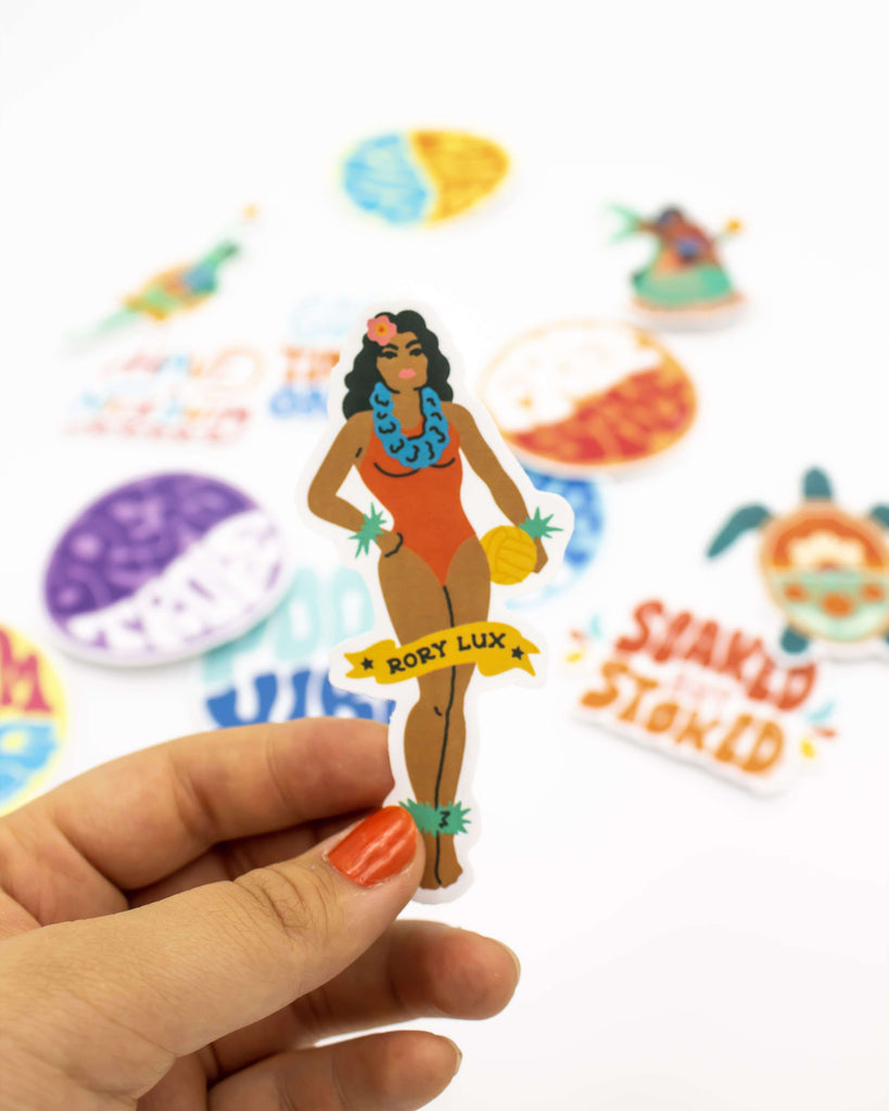 Hula Girl Vinyl Sticker - Rory Lux Apparel