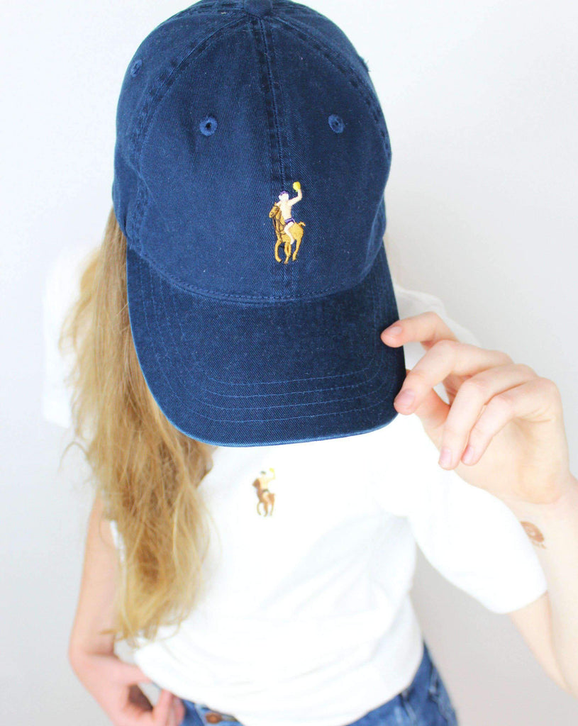 Water Polo Pony Dad Hat - Vintage Wash Navy - Rory Lux Apparel