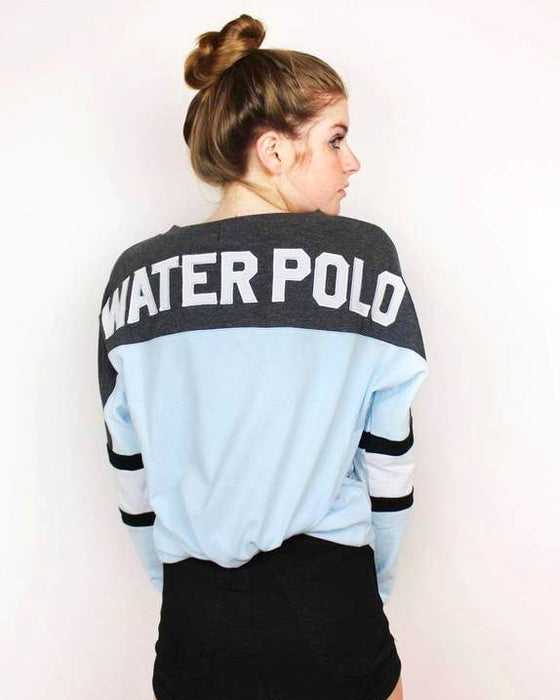Water Polo Appliqué Lace Up Jersey - Blue