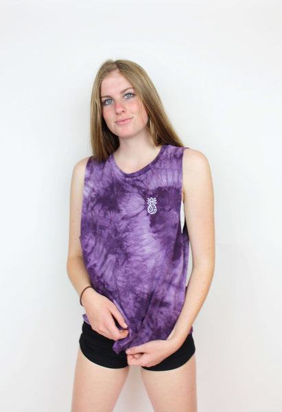 Pineapple Water Polo Tie Dye Muscle Tank - Burgundy
