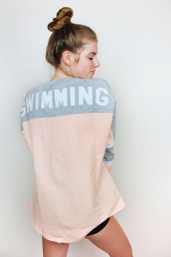 Swimming Appliqué Lace Up Jersey - Pink - Rory Lux Apparel