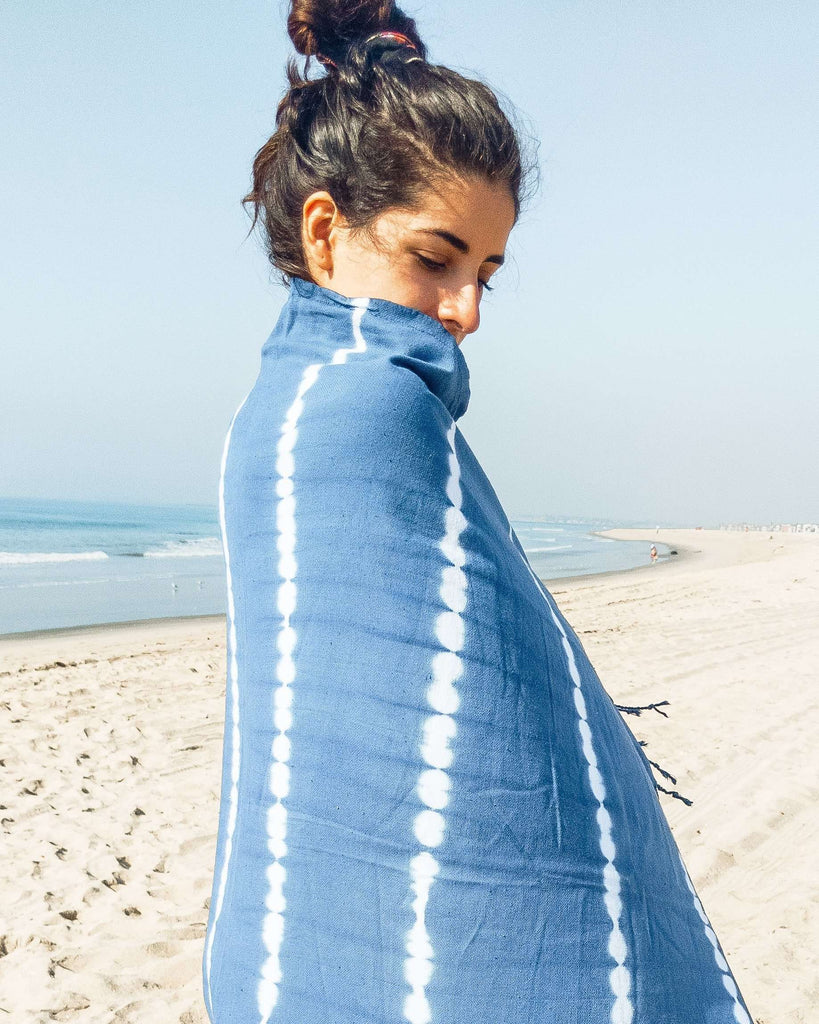 Shibori Hand Dyed Towel - Natural Indigo - Rory Lux Apparel