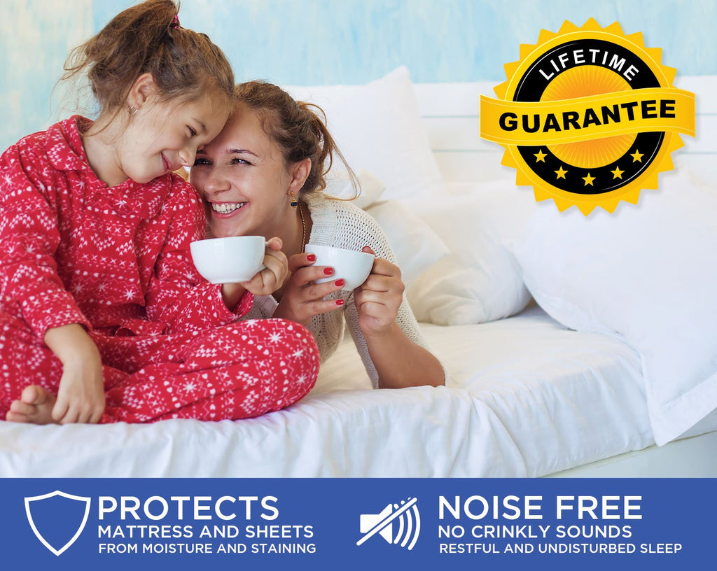 Premium Smooth Mattress Protector - 100% Waterproof, Hypoallergenic, Breathable - Protect from Dust Mites, Allergens, Bacteria, Urine