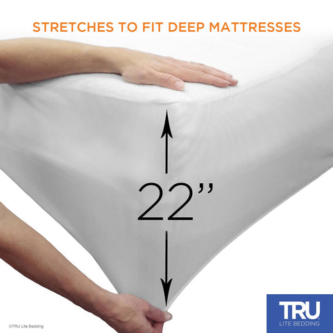 Premium Waterproof Mattress Protector - Vinyl Free Mattress Cover - Hypoallergenic Breathable Cotton Terry Bed Cover - Protection from Dust Mites, Allergens, Bacteria