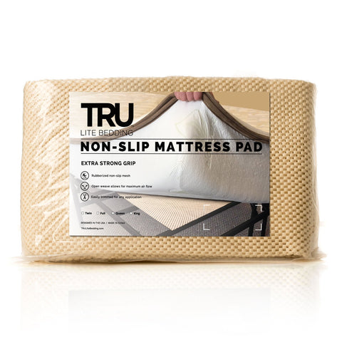 EXTRA STRONG Non-Slip Mattress Grip Pad - Keeps All Mattress Types Secure and Safe - Ideal For Platform Bed Frame or Futon Mattress - Easy, Simple Fit - TRU Lite Bedding