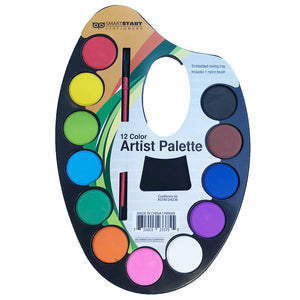 Watercolor Artist's Palette - 12 Colors with Brush