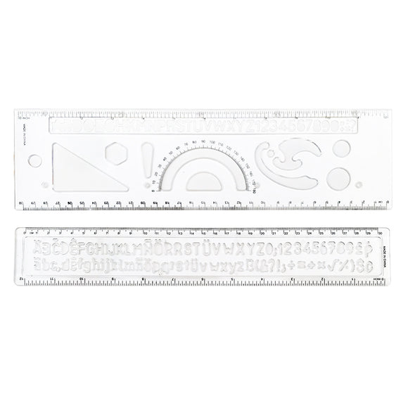 Ruler and Stencil Set - Alphabet, Number, and Symbols
