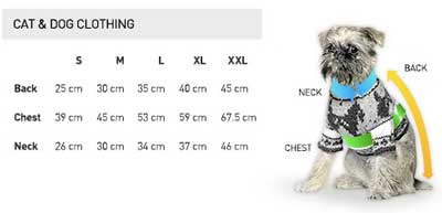 Dog Hoody Sizing Chart