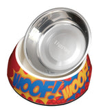'WOOF' Easy Feed Melamine & Stainless Steel Dog Bowl - Smitten Pets - 1