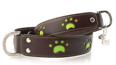 Hamish McBeth 'Paws' Leather Dog Collar in Brown - Smitten Pets