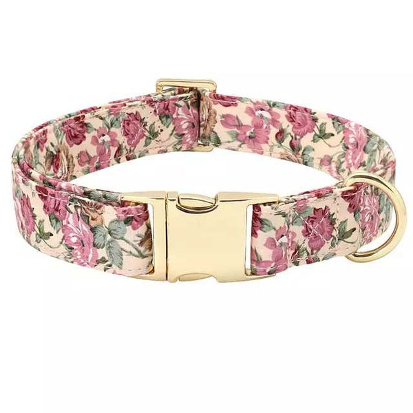 Beige Rose in Gold Dog Collar