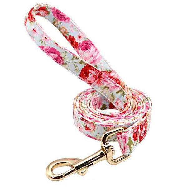 Pink Rose in Gold Dog Lead
