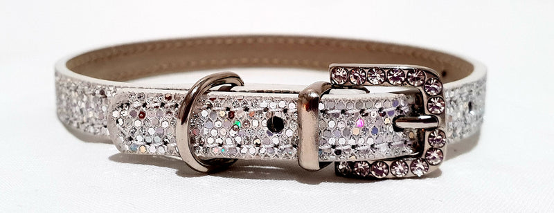 White Rhinestone Buckle Collar