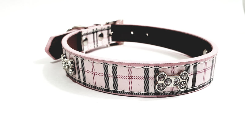 Plaid Dog Collar with Bone Shaped Rhinestones