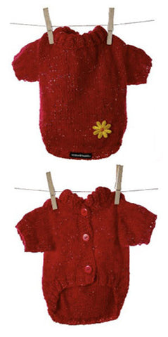 Miyow & Barkley Big Red Knit with Yellow Daisy - Smitten Pets - 1