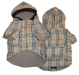 Burberry Inspired Fleece Lined Hooded Dog Jacket - Smitten Pets - 2