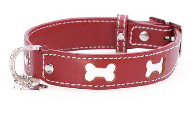 Hamish McBeth 'Bones' Leather Dog Collar in Red - Smitten Pets