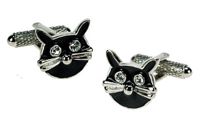Black Cat Face Cufflinks - Smitten Pets