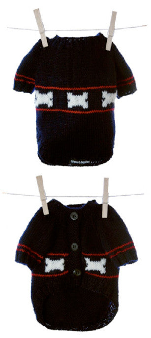 Miyow & Barkley Threadbone Navy Dog Cardigan - Smitten Pets - 1