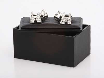 Scottie Dog Crystal Cufflinks - Smitten Pets