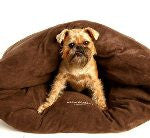 Miyow & Barkley Microsuede Snuggle Pod (in Chocolate or Red) - Smitten Pets - 2