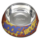'WOOF' Easy Feed Melamine & Stainless Steel Dog Bowl - Smitten Pets - 2
