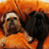 Miyow & Barkley Faux Fur Snuggle Pod (in Grey or Orange) - Smitten Pets - 5