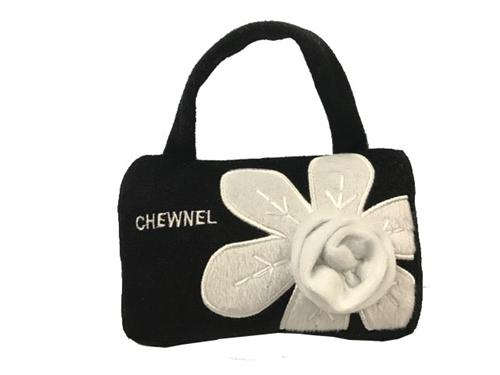 Chewnel Black Bag with White Flower Dog Toy