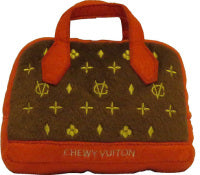 Chewy Vuiton Parody Handbag Shape Dog Toy (red)