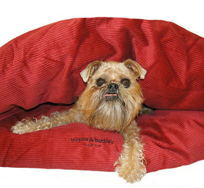 Miyow & Barkley Cord Snuggle Pod (in Red or Latte) - Smitten Pets - 3