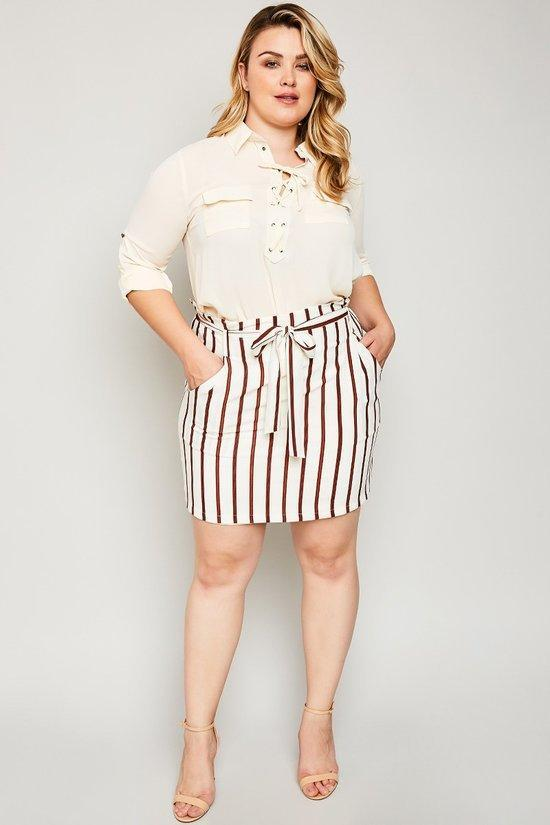 Eva Brown Striped Skirt
