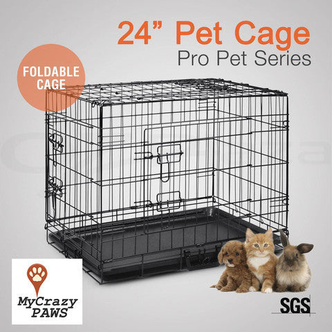"24"" Pet Dog Cage Puppy Cat Collapsible Metal Small Animal Cage Portable House"